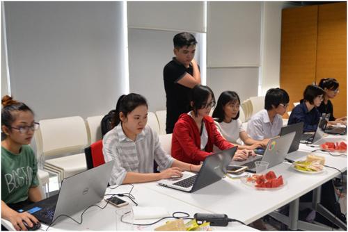 Girls were trained Microsoft Office 365.