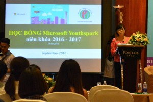 Ms To Kim Lien, Director of CED introduces the  Microsoft  YouthSpark Scholarship for the women in technologies